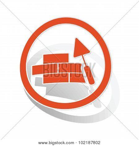 Building wall sign sticker, orange