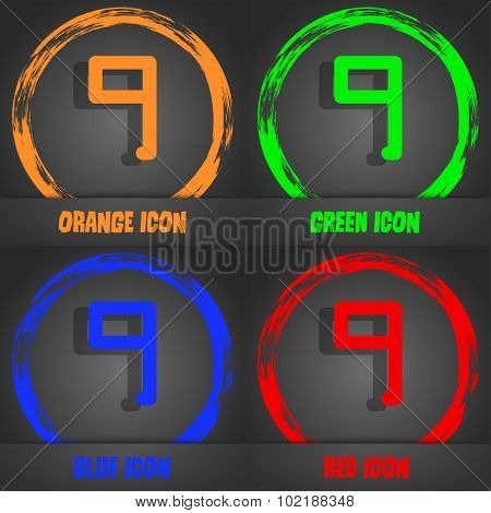 Number Nine Icon Sign. Fashionable Modern Style. In The Orange, Green, Blue, Red Design. Vector
