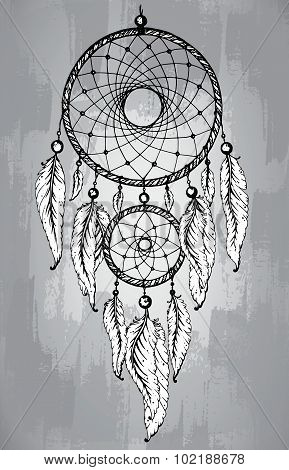 Dreamcatcher With Feathers, In Line Art Style.