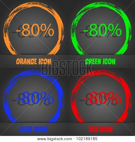 80 Percent Discount Sign Icon. Sale Symbol. Special Offer Label. Fashionable Modern Style. In The Or