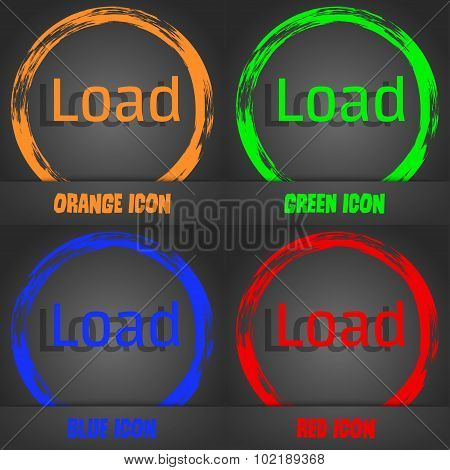 Download Now Icon. Load Symbol. Fashionable Modern Style. In The Orange, Green, Blue, Red Design. Ve