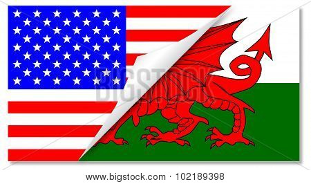 United States And Welsh Flags Combined