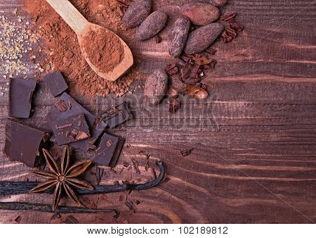 Chocolate, Cocoa Beans, Cocoa Powder And Spices