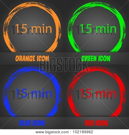 Fifteen Minutes Sign Icon. Fashionable Modern Style. In The Orange, Green, Blue, Red Design. Vector