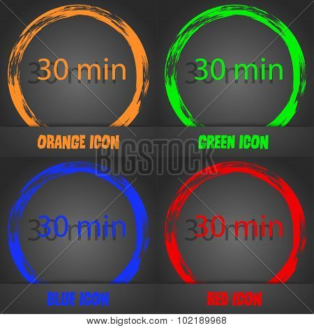 Thirty Minutes Sign Icon. Fashionable Modern Style. In The Orange, Green, Blue, Red Design. Vector