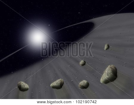 Sun with asteroids in universe or space, Globe and galaxy in a cloud with meteors
