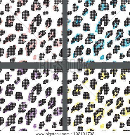 Set leopard print pattern. Set print fur leopard dots pattern