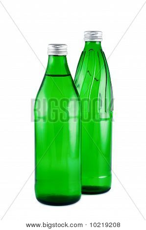 Two Bottles Water Isolated White Background Clipping Path.