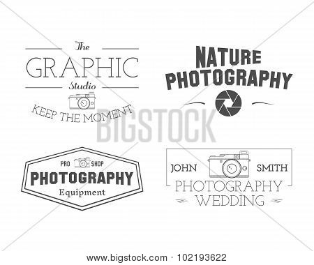 Photographer Badges and Labels in Vintage Style. Simple Line, unique design. Retro theme for photo s