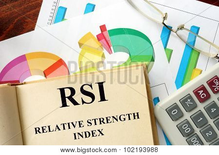 Word Relative Strength Index - RSI written on a book.