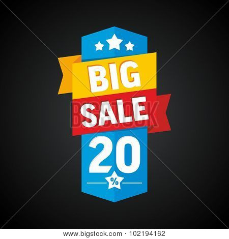 Big sale 20 percent badge. Vector illustration.