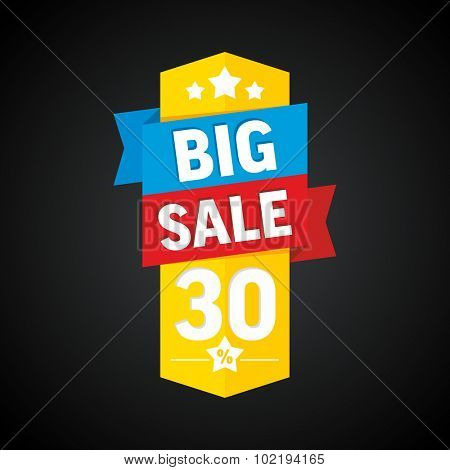 Big sale 30 percent badge. Vector illustration.