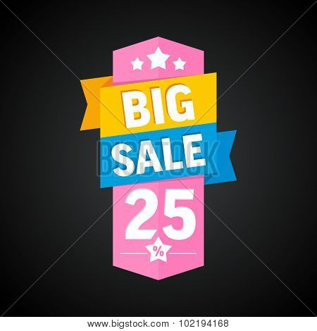 Big sale 25 percent badge. Vector illustration.