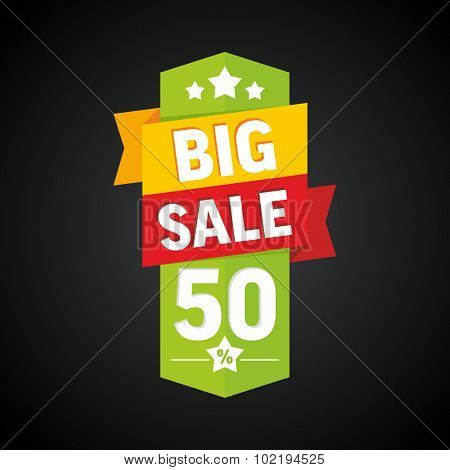 Big sale 50 percent badge. Vector illustration.