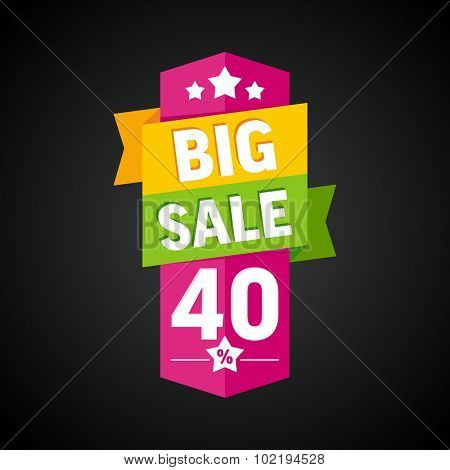 Big sale 40 percent badge. Vector illustration.