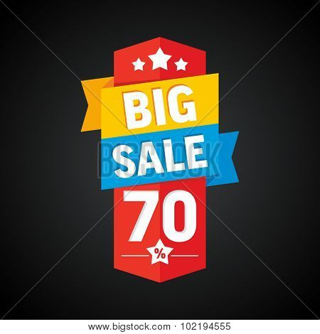 Big sale 70 percent badge. Vector illustration.