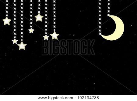 Beautiful night background with shining stars and moon.