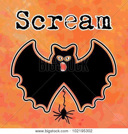 Halloween bat spider (separate elements)  and word scream - grunge background