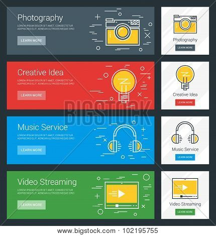 Photography. Creative Idea. Music Service. Video Streaming. Flat Design Concept. Set Of Vector Web B