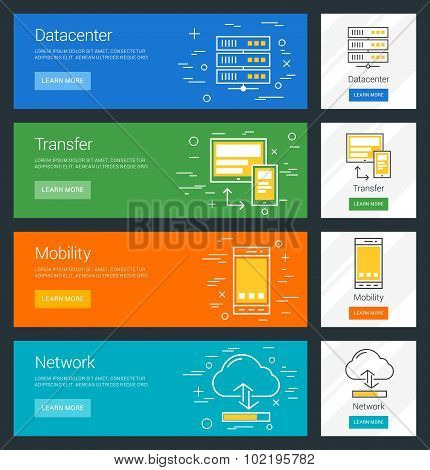 Datacenter. Transfer. Mobility. Network. Flat Design Concept. Set Of Vector Web Banners