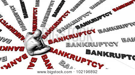 Suffering From Bankruptcy with a Victim Crying Male