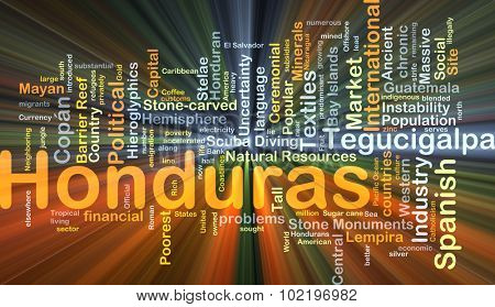 Background concept wordcloud illustration of Honduras glowing light