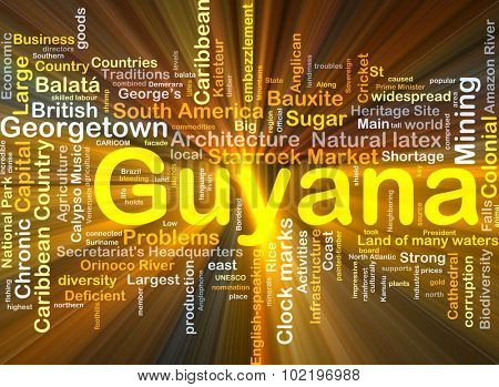 Background concept wordcloud illustration of Guyana glowing light