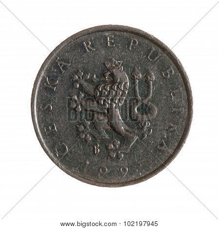 Czech Koruna Coin One Isolated On White Background. Top View