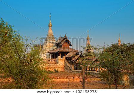Minochantha Stupa Group In Old Bagan Myanmar In Sunrise