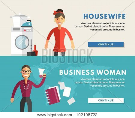Profession Concept. Business Woman And Housewife. Flat Design Concepts For Web Banners And Promotion