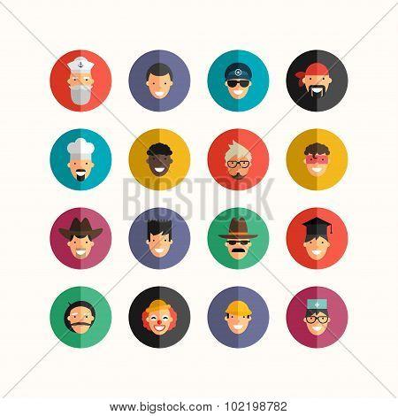 Flat Design Professional People Avatar Icon Set.  Men Set. Sailor, Policeman, Biker, Cook, Cowboy, S