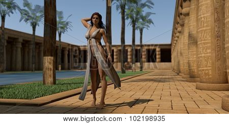 fantasy girl wearing light outfit posing in Egypt temple