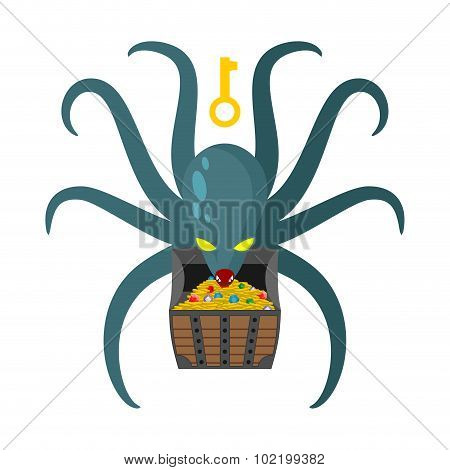 Octopus Guarding Pirate Treasures . Gold Chest Kraken. Cthulhu And Gold Jewelry. Dreaded Clam Monste