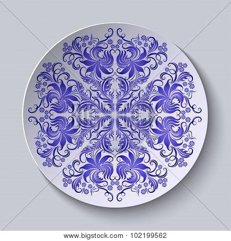 Vector floral circular plate for design