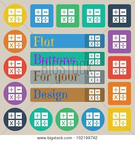 Multiplication, Division, Plus, Minus Icon Math Symbol Mathematics. Set Of Twenty Colored Flat, Roun