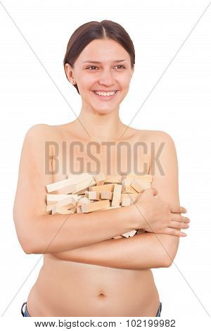 Nude Girl Laughs With Blocks Wood Game. Isolated On White