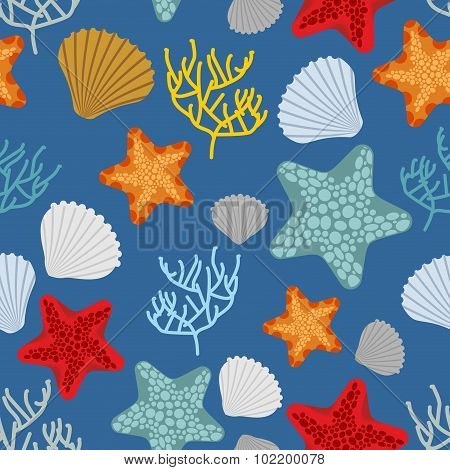 Marine Seamless Pattern. Starfish, Scallop And Corals. Clam Shells And Underwater Polyps. Oceanic Ve