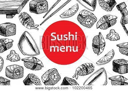Vector Vintage Sushi Restaurant Menu Illustration.