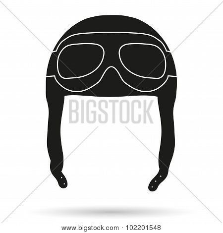 Silhouette symbol of Retro aviator pilot helmet with goggles.