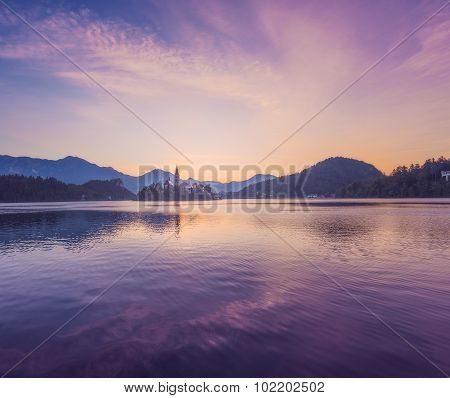 Island With Church In Bled Lake, Slovenia At Sunrise
