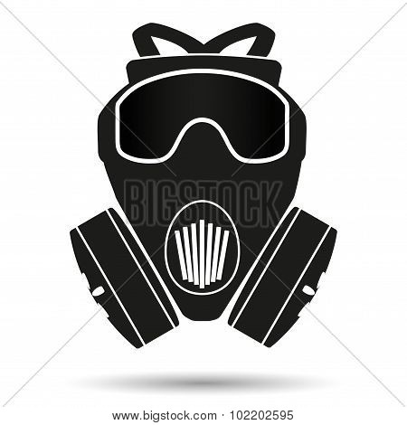 Silhouette symbol of gas mask respirator.