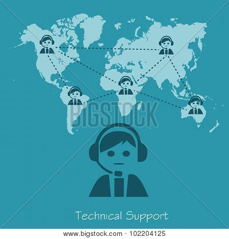 technical support, operator, vector illustration in flat design for web sites, Infographic design