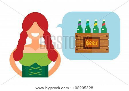 Vector illustration Oktoberfest german woman girl abstract silhouette