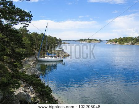 Sailboat Mored In The Archipelago
