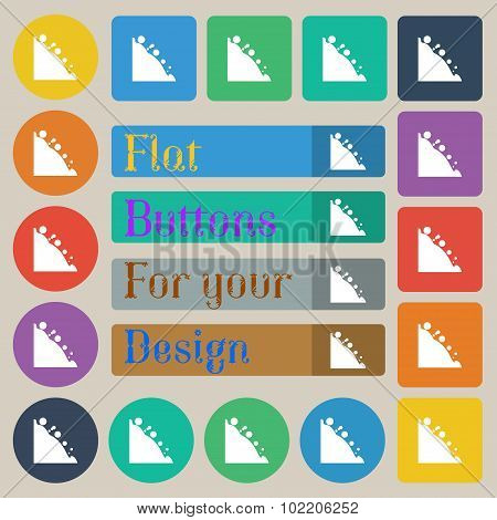 Rockfall Icon. Set Of Twenty Colored Flat, Round, Square And Rectangular Buttons. Vector