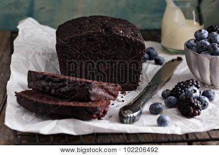 Chocolate loaf cake sliced
