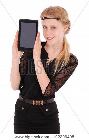 Girl Keeps The Tablet Pc On The Part Face