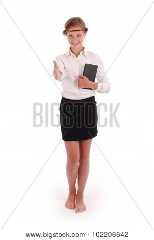 Girl Stretches A Hand Holding Tablet Pc