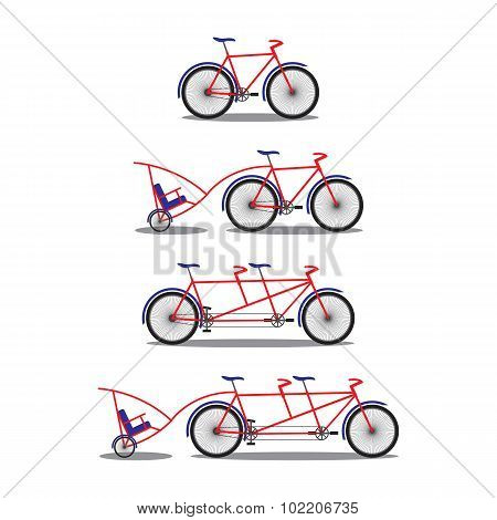Bicycle And Tandem-bicycle. Various Kinds.