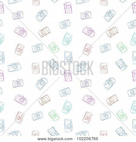 Seamless Pattern From Color Film Retro Photocameras